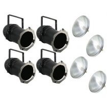 4x PAR64 Long Nose Can inc. Lamps (1000w Black)