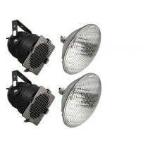 2X 300w BLACK PAR56 INC. LAMPS