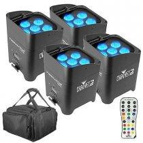 4x Chauvet DJ Freedom Par Tri 6 inc. Remote and Carry Bag