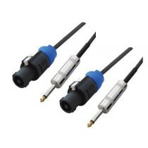 "2x Soundlab Speakon to 1/4"" Jack Lead (5m)"