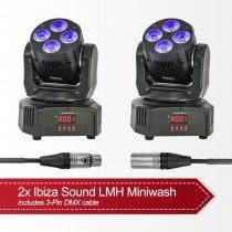 2x Ibiza Sound LMH Miniwash inc. DMX cable
