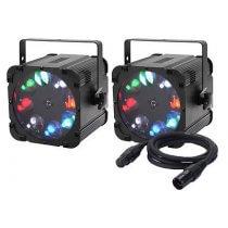 2x Equinox Crossfire XP Gobo Projector inc. DMX Cable Bundle