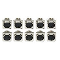 10x Female XLR Silver Chassis Panel Mount