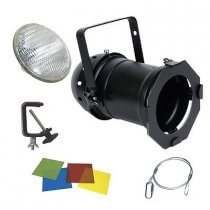500w PAR64 INC. BLACK LAMP, HOOK, CLAMP & GEL