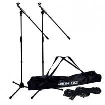 2x Rhino Microphones inc. Stands, Bags and Cables