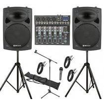 2x QTX 600W PA System 6Ch Sound Bundle