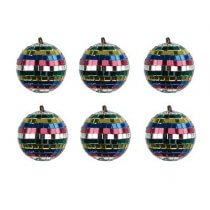 6x Multi Coloured Mirrorball (5cm)