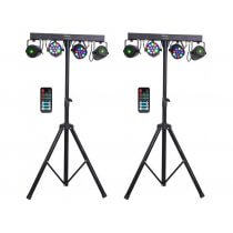 2x Ibiza Light Cluster FX Bar inc. Stands and Remotes