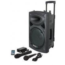 "Ibiza Sound Portable 10"" Battery Powered Bluetooth PA System inc Wireless Mics"