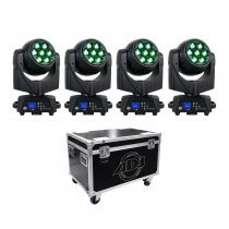 4x ADJ Vizi Hexwash 7 LED Moving Head inc Flightcase