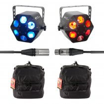 2x ADJ Quad Phase HP LED Light inc. Carry Bags and DMX Cable (Bundle)