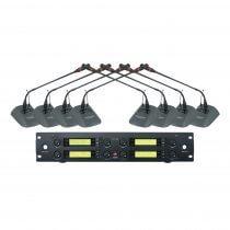 BST HT1188 Wireless UHF Conference System 8 x Desktop Gooseneck Microphone
