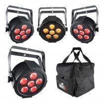 4x Chauvet DJ SLIMPAR Q6 USB 6 x 4W RGBA LED Par Can inc CHS-30 Carry Bag