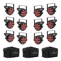 12x Chauvet DJ SlimPAR Q12 Bluetooth Wireless LED PAR Can inc. Carry Bags