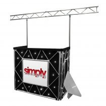 Equinox Truss Booth Complete Setup inc. Booth, Gantry, Shelves & Star Cloth (White LED)
