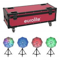 4x Eurolite LED Umbrella 95 Lighting Effect inc. Roadinger Flightcase