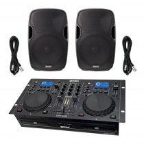 Gemini CDM4000 Dual CD DJ Controller + AS-15BLU 4000W Sound System Disco