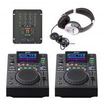 2x Gemini MDJ-500 & Citronic Mixer Package DJ Mixing Deck Controller Disco