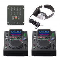 2x Gemini MDJ-600 & Citronic Mixer DJ Mixing Package CD Player Deck Disco