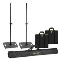 2x Gravity LS331B Square Base Lighting Stands inc. Transit Bags