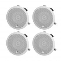 "4x HK Audio Install Ceiling 6.5"" Speaker White 120W 100V PA Background Sound"