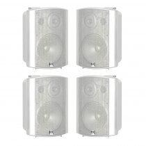 """4x HK Audio Install Speaker White 6.5"""" PA Sound System 120W 100V 8OHM"""