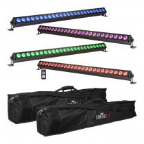 4x Ibiza Light 1M LED Batten inc. Carry Bag & Remote