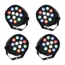 4x Ibiza Light Mini PAR Can RGBW