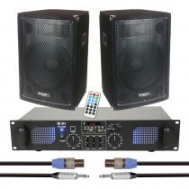 """2x Ibiza Sound 12"""" 600W PA Speaker inc. Amplifier and Cables (Bundle)"""