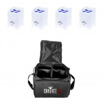 4x LEDJ Rapid QB1 Wireless LED Uplighter (RGBW) in White Housing inc. Carry Bag