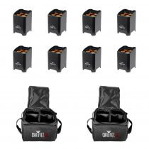 8x LEDJ Rapid QB1 Wireless LED Uplighter (RGBA) in Black Housing inc. Carry Bags