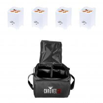 4x LEDJ Rapid QB1 Wireless LED Uplighter (RGBA) in White Housing inc. Carry Bag