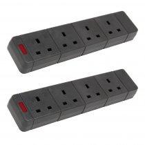 2x Mercury 4 Gang Rewireable 13A Trailing Power Sockets