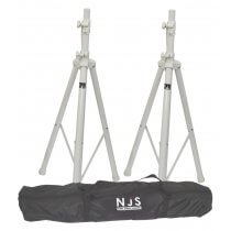 NJS White Speaker Stand Kit Including Bag Pair of Heavy Duty Stands