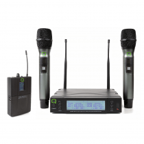 Q Audio QWM1960 CH70 UHF Wireless System Dual Handheld & Beltpack Bundle