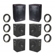 QTX 4000W Active Speaker Sound System inc. 4x Subs, 2x Tops and Cables