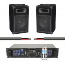Ibiza Sound 700W PA System inc. 2x Speakers, Amplifier and Cable
