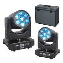 2x Showtec Shark Zoom Wash One 7 x 15W RGBW LED Moving Head Package