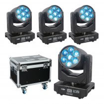 4x Showtec Shark Zoom Wash One 7 x 15W RGBW LED Moving Head Package