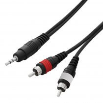 W Audio 1.5m Twin Phono RCA to Mini Jack 3.5mm Laptop Professional DJ Lead
