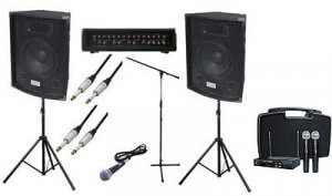 200W PA Speaker System inc. Wireless Mic, Cables & Stands