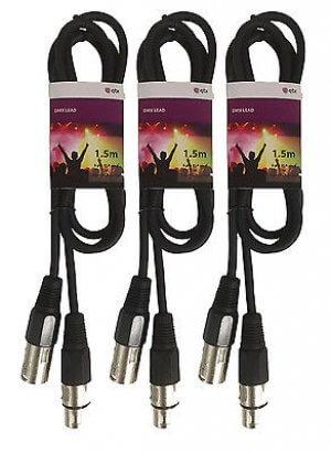 3x QTX DMX / XLR Cable (1.5m)