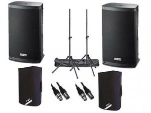 """2x FBT Xlite 10"""" 2000w Active Speakers inc. Padded Covers, Stands & Carry Bags and Cables"""