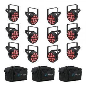 12x Chauvet DJ SlimPAR T12 Bluetooth Wireless LED PAR Can inc. Carry Bags
