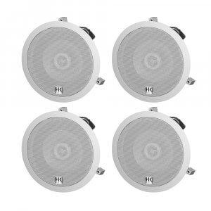 "4x HK Audio Install Ceiling 6.5"" Speaker White 120W 100V PA Background Sound"