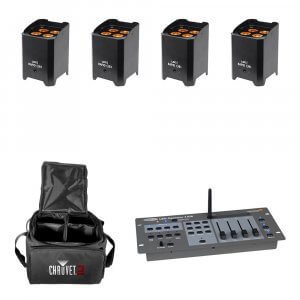 4x LEDJ Rapid QB1 Wireless LED Uplighter (RGBA) in Black Housing inc. DMX Controller and Carry Bag