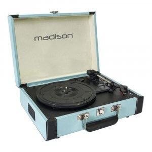 Madison Beltdrive Active Turntable in a Vintage Case (Blue)