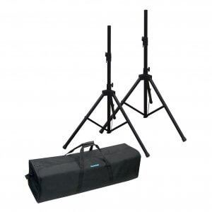 NJS Deluxe PA Speaker Stands x 2 inc strong case