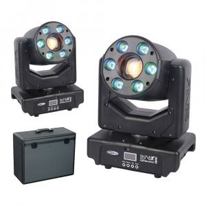 2x Showtec Shark Combi Spot One LED Moving Head Spot Wash Package