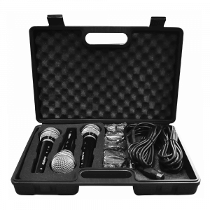 Soundlab Dynamic Vocal Kit with 3 Mics, Leads and Carry Case